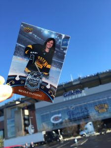 photo of Winter Classic trading card outside of Gillette Stadium outside of Boston, MA